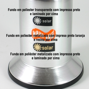 etiquetas usadas nas luminárias solar